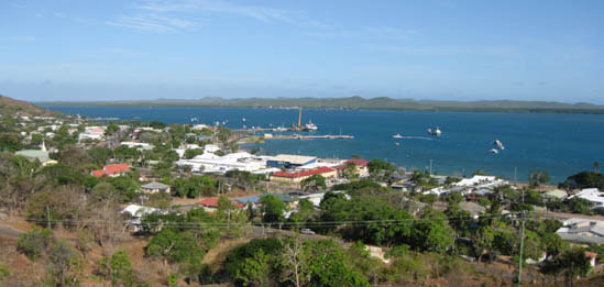 Looking south-east across the town of Thursday Island to Horn Island.