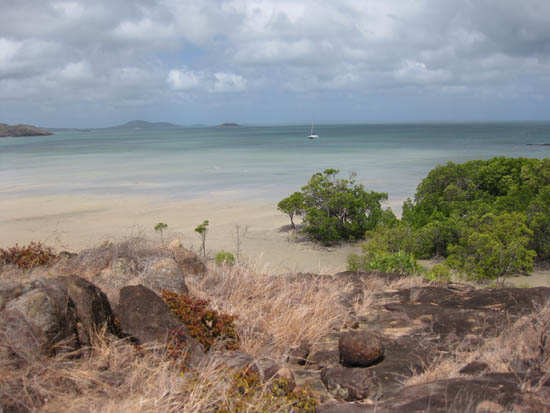Looking north-west from the mainland to the Torres Strait islands from the tip of Cape York.