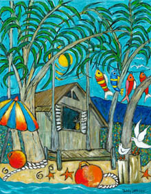 Beach Shack - shack on edge of the beach, fish hanging in trees, umbrella and fishing floats, seagulls in front