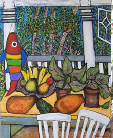 Claire's Garden - white chairs and table laden with fruit and plants in the foreground