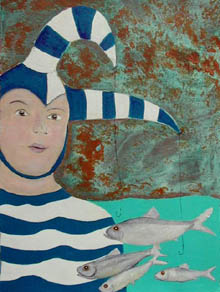 Clown Fishing clown in blue ad white striped outfit has fish hanging from his headgear
