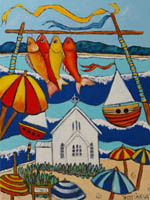 Bright red fish hung to dry on clothesline near Saint Mary's church - tile.