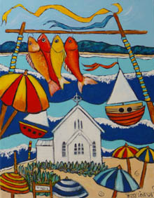 Hanging out at Saint Marys - fish, umbrellas, white church on the inlet