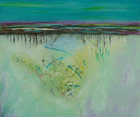 Low Tide Reflections 2, mixed media on canvas