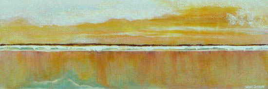 Low Tide Sunset, mixed media on canvas