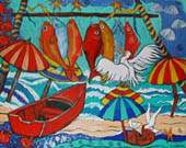 'Pelicans' Lunch' - red fish, boats and white pelicans