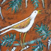 Shore Bird'yellow and white bird in scrub
