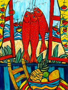 Three red fish hang in window looking out to sea, chair and bowl of fruit in the foreground
