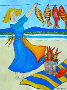 'Washed Ashore' - red fish hung up to dry by woman in blue dress