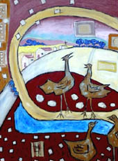 'Chooks' - crowing rooster and hen with buildings in distance