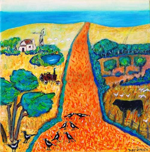 Painting, 'Escape to the Cape' is dominated by an orange road leading to a turquoise ocean in the distance, a farmhouse and farm animals grazing in bushland.