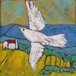 'In Flight' - white bird flying farmhouse and hills in the distance
