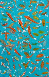 'Leaves' - green leaves and goldfish move on a blue background