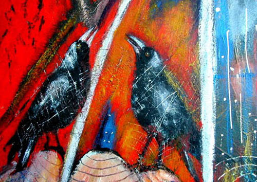 Detail of 'A Dreammtime Story', black and white magpies in foreground