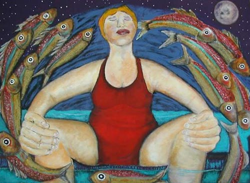Painting, 'Moonlight Meditation' shows a woman sitting, legs astride, feet in the water as fish float above her in full moonlight.