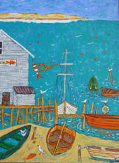 Painting, 'Nelson' - jetty and boats in forground, bright blue water behind and hills in the distance