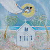 'Flying Start' - painting of small church in Port Douglas - lovers float in sky above.