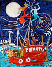 Painting - 'Party' - red boat, people dance in the rigging and masts