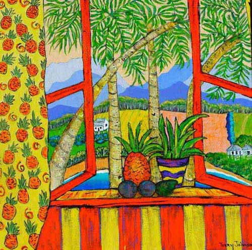 Painting. 'A Passion for Pineapples' depicts pineapple plantations seen from a window, pineapples and avocadoes on the window ledge, the window curtain patterned with orange pineapples.