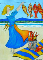 'Peaceful waters' - woman in cobalt blue dress hangs fresh fish on clothesline near the ocean
