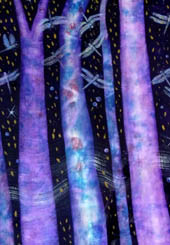 Blue and purple tree trunks against a black night sky