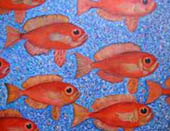 Red fish swim to left of painting, blue stippled background