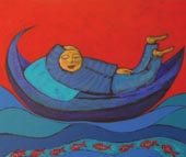 'The Dream' - figure in blue reclines on floating blue boat, red sky behind