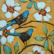 Chirp - two small birds on twigs of white flowering bush