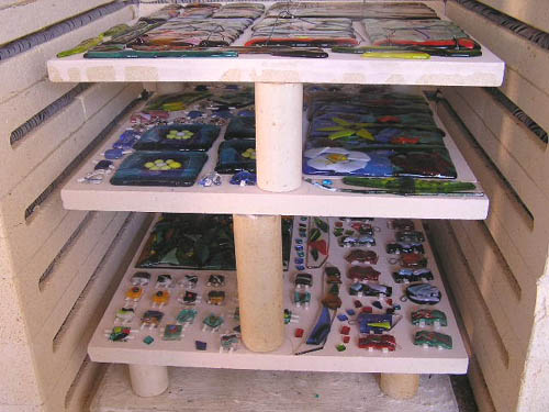 Fused pieces ready to be taken out of the glass kiln