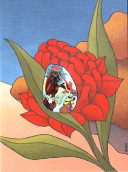Red waratah flower with an insert depicting the distraught girl, Krubi