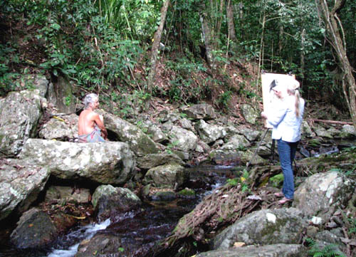 Life drawing session in a rainforest creek - develop the artwork into a narrative?