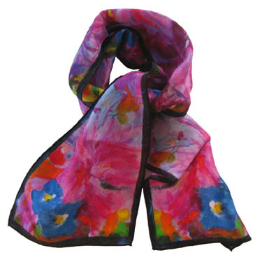 Azaleas small long silk scarf