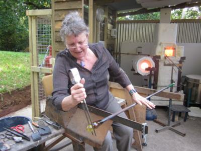 Jude trying the prototype glass furnace, UK