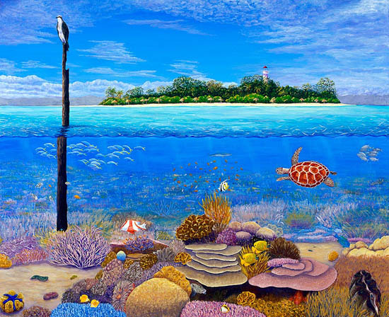 Low Isles, Above and Below - colourful painting of the coral reef near Low Isles