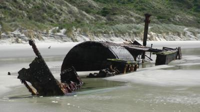 Wreck of the 'Hananui II' - (stranded on-shore in 1943)