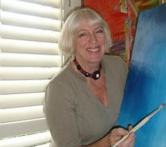 Anne Engdahl underpaints her canvas.