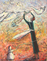 'Antipodean Mother' - painting showing a woman in black hanging clothes as well as a fish skeleton on the clothesline, a child playing nearby and a kite in the sky.