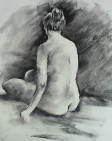 Angie - charcoal drawing of back of seated nude