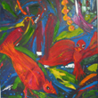 the first in a quadtych, this oil painting is my impression of lively and raucous tropical birds.
