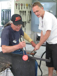 Glass blowing with a master
