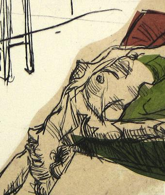 Genever, M. Untitled (detail), drypoint and chine collé, 2013
