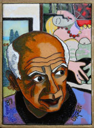 Artist, Picasso, looks towards one of his paintings hanging on the wall.