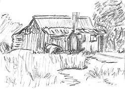 Kerry - pencil sketch of small cabin