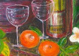 Jill Booth still life detail - wine bottle, mandarins and glasses