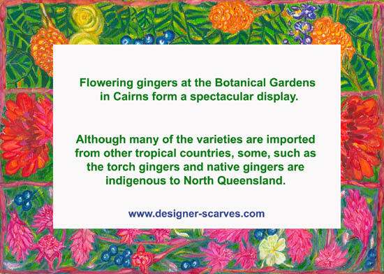 Flowering gingers scarves sign at exhibition opening.