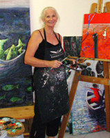 Christine Eyres paints in her studio