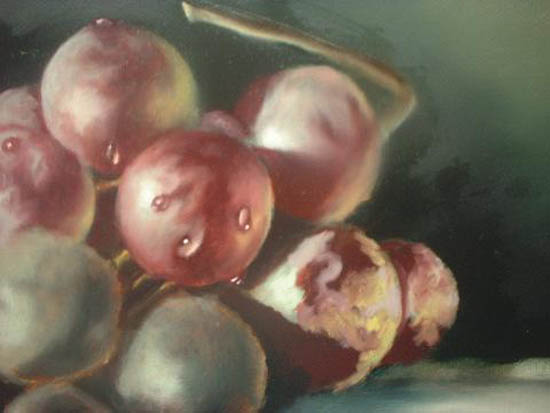 Still Life. First colour being applied over layers - just look at those drops of water!