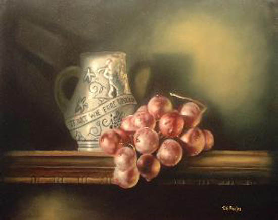 Still Life - Finished painting - note the use of a primary light source as well as a softer, secondary one.