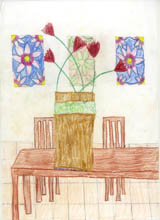 flowers in vase on wooden table with wooden chairs - Olivia