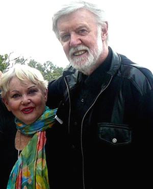 Diane wearing a Jill Booth scarf, with Barry Crocker.<BR> <small>Photo courtesy Newsport Connect</small>